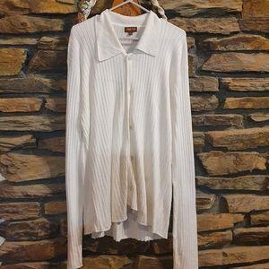 Size XL Savile Row white knit collared top/cardi
